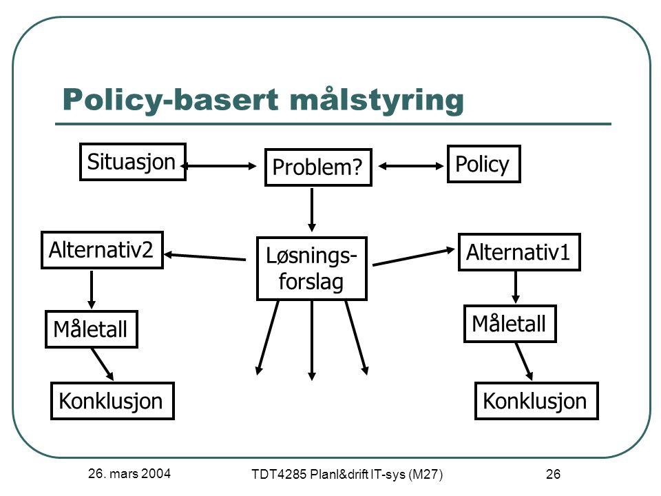 26. mars 2004 TDT4285 Planl&drift IT-sys (M27) 26 Policy-basert målstyring Situasjon Problem? Policy Løsnings- forslag Alternativ1 Måletall Konklusjon