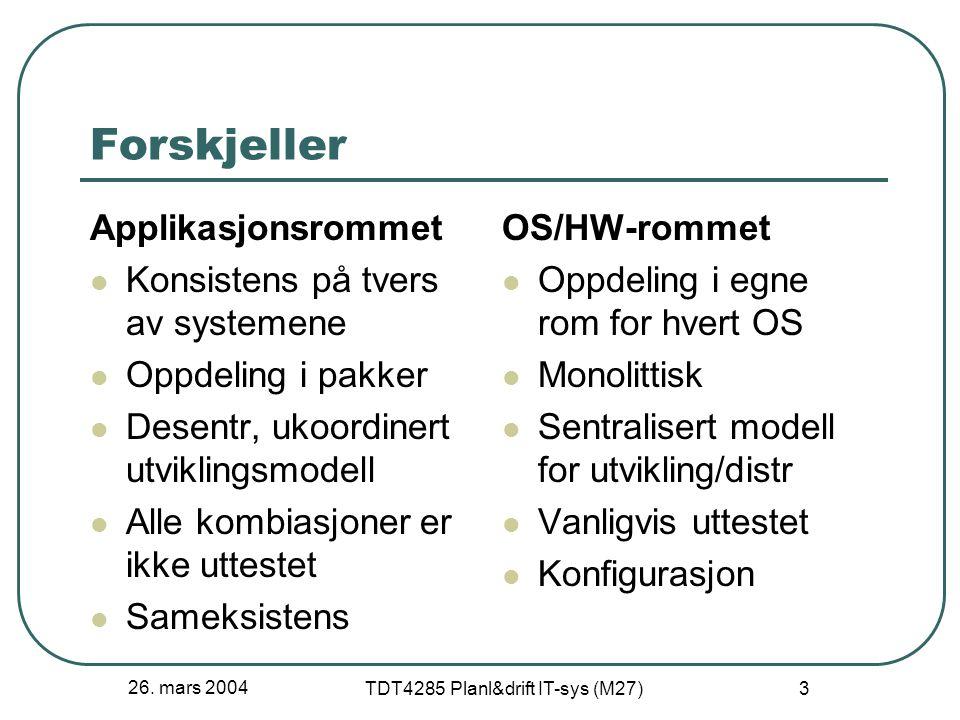 26. mars 2004 TDT4285 Planl&drift IT-sys (M27) 3 Forskjeller Applikasjonsrommet Konsistens på tvers av systemene Oppdeling i pakker Desentr, ukoordine