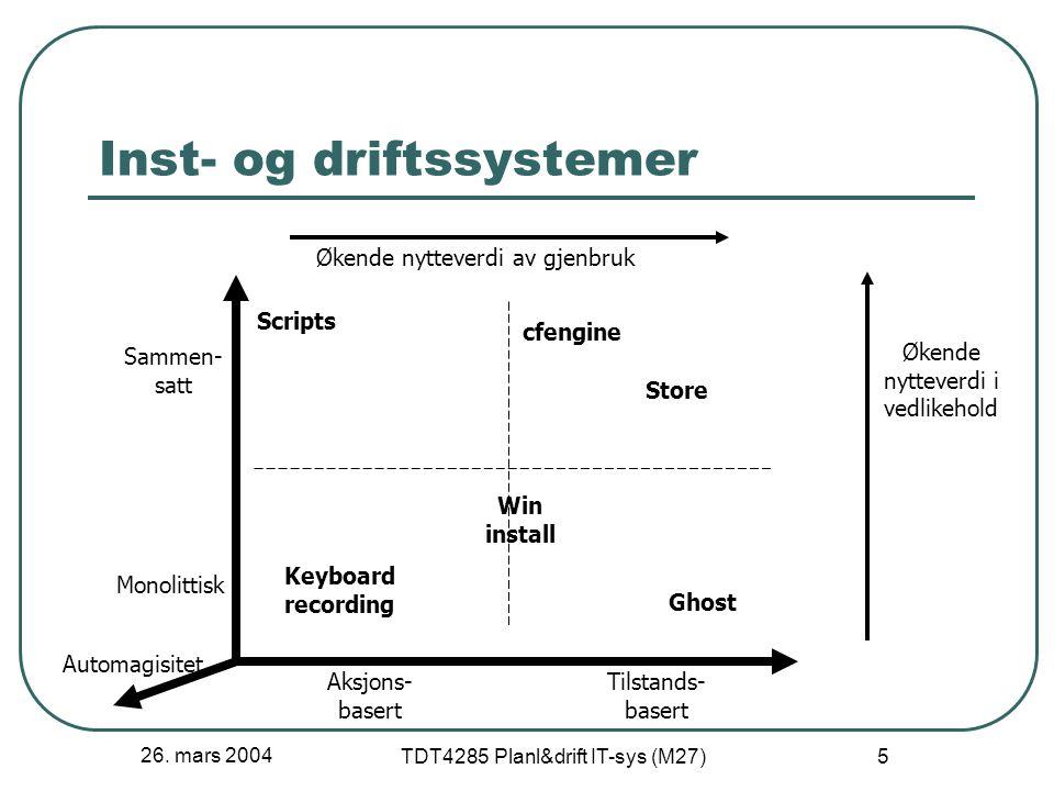 26. mars 2004 TDT4285 Planl&drift IT-sys (M27) 5 Inst- og driftssystemer Aksjons- basert Tilstands- basert Monolittisk Sammen- satt Økende nytteverdi