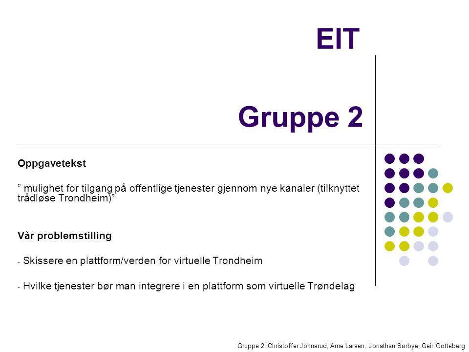 EIT Gruppe 2: Christoffer Johnsrud, Arne Larsen, Jonathan Sørbye, Geir Gotteberg