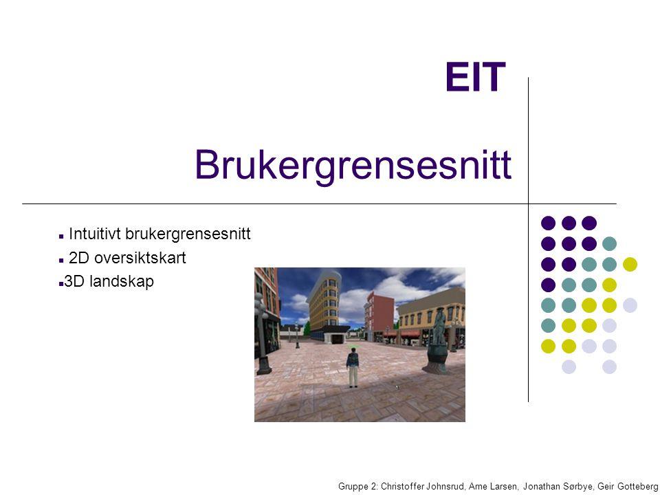EIT Intuitivt brukergrensesnitt 2D oversiktskart 3D landskap Gruppe 2: Christoffer Johnsrud, Arne Larsen, Jonathan Sørbye, Geir Gotteberg Brukergrensesnitt