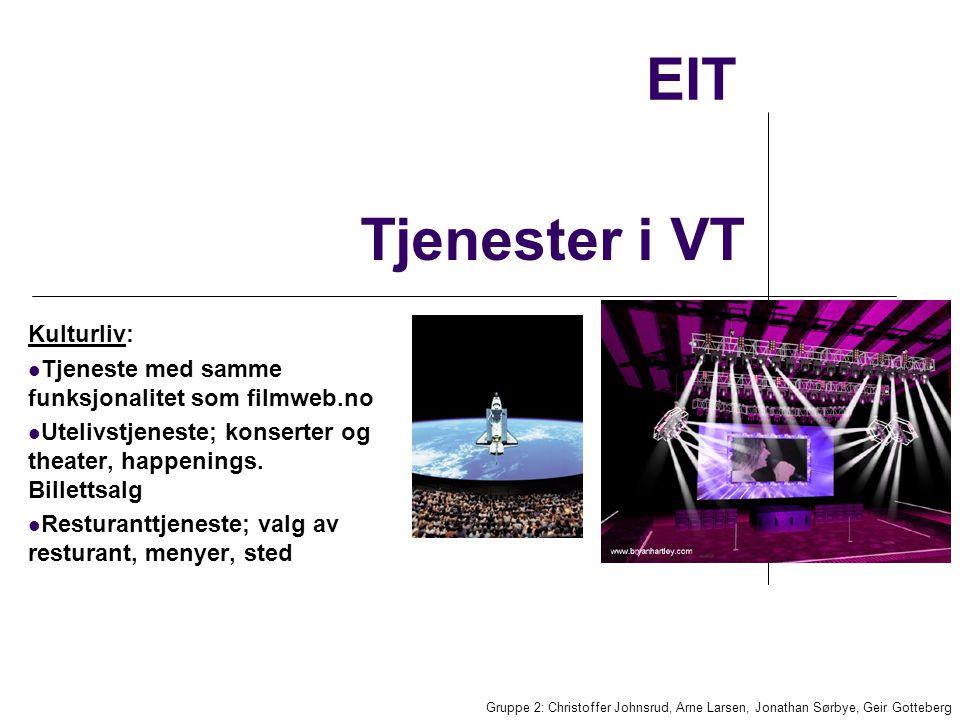EIT Kulturliv: Tjeneste med samme funksjonalitet som filmweb.no Utelivstjeneste; konserter og theater, happenings.