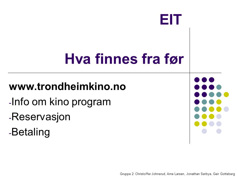 EIT Gruppe 2: Christoffer Johnsrud, Arne Larsen, Jonathan Sørbye, Geir Gotteberg Hva finnes fra før