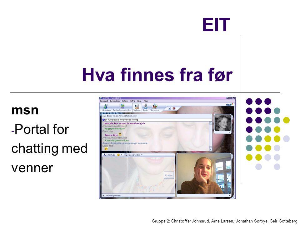 EIT Gruppe 2: Christoffer Johnsrud, Arne Larsen, Jonathan Sørbye, Geir Gotteberg Kommunikasjon Vi ser for oss en smart og brukervennlig løsning for kontakt mellom brukere Lyd / stemme chat istedenfor tekst
