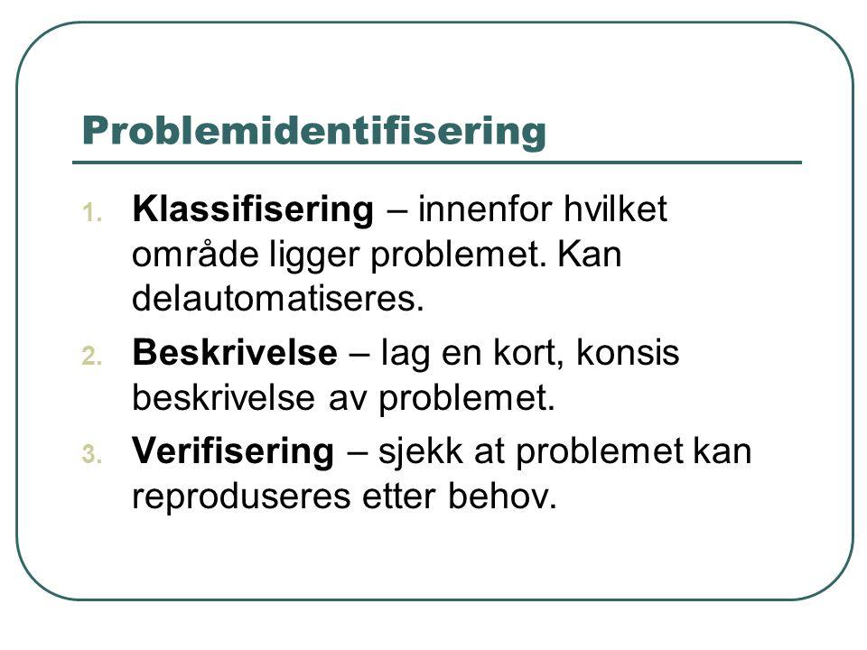 Problemidentifisering 1. Klassifisering – innenfor hvilket område ligger problemet. Kan delautomatiseres. 2. Beskrivelse – lag en kort, konsis beskriv