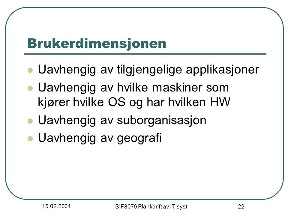 15.02.2001 SIF8076 Planl/drift av IT-syst 22 Brukerdimensjonen Uavhengig av tilgjengelige applikasjoner Uavhengig av hvilke maskiner som kjører hvilke OS og har hvilken HW Uavhengig av suborganisasjon Uavhengig av geografi