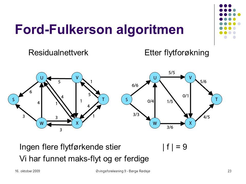 Ford-Fulkerson algoritmen 16. oktober 200923Øvingsforelesning 9 - Børge Rødsjø Residualnettverk Etter flytforøkning Ingen flere flytførkende stier| f