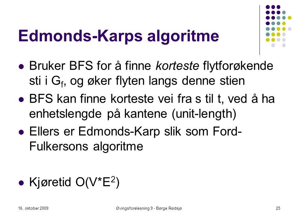 Edmonds-Karps algoritme Bruker BFS for å finne korteste flytforøkende sti i G f, og øker flyten langs denne stien BFS kan finne korteste vei fra s til