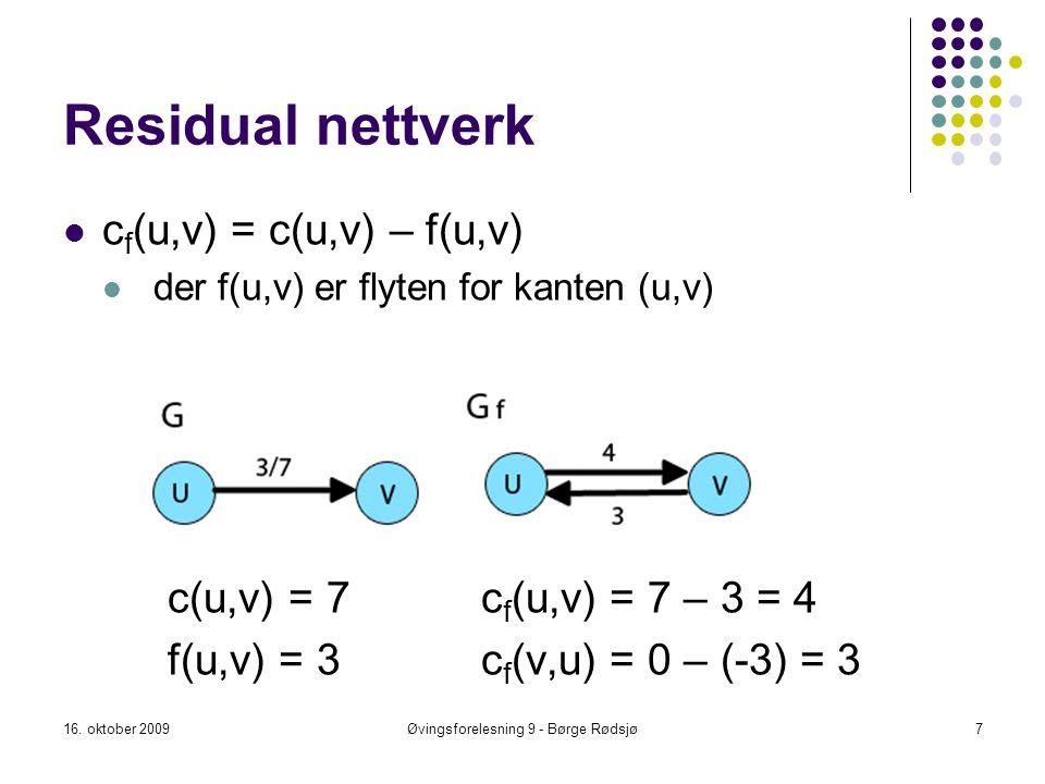 Residual nettverk c f (u,v) = c(u,v) – f(u,v) der f(u,v) er flyten for kanten (u,v) c(u,v) = 7c f (u,v) = 7 – 3 = 4 f(u,v) = 3c f (v,u) = 0 – (-3) = 3