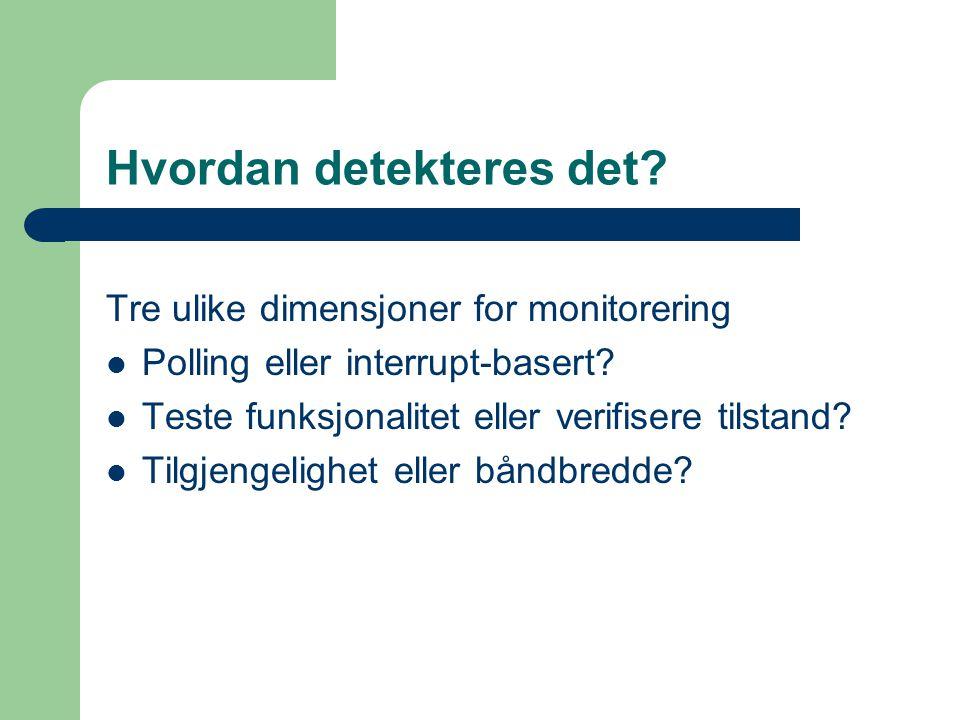 Hvordan detekteres det. Tre ulike dimensjoner for monitorering Polling eller interrupt-basert.