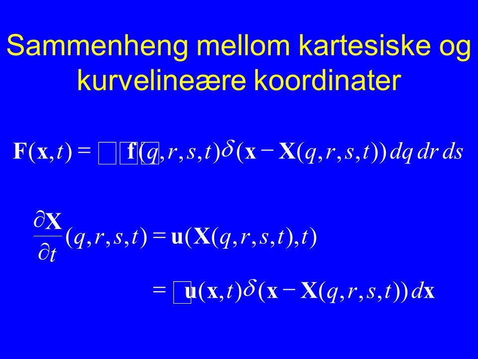 Sammenheng mellom kartesiske og kurvelineære koordinater dsdrdqtsrqtsrqt)),,,((),,,(),(   XxfxF  xXxxu Xu X dtsrqt ttsrqtsrq t      )),,,(