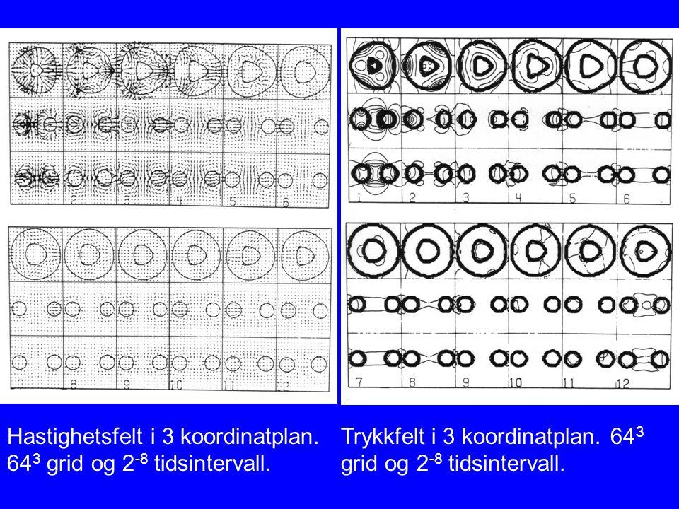 Hastighetsfelt i 3 koordinatplan. 64 3 grid og 2 -8 tidsintervall. Trykkfelt i 3 koordinatplan. 64 3 grid og 2 -8 tidsintervall.