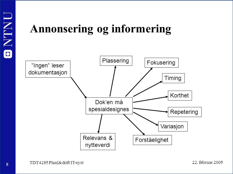 """8 22. februar 2005 TDT4285 Planl&drift IT-syst Annonsering og informering """"Ingen"""" leser dokumentasjon Dok'en må spesialdesignes Plassering Timing Repe"""