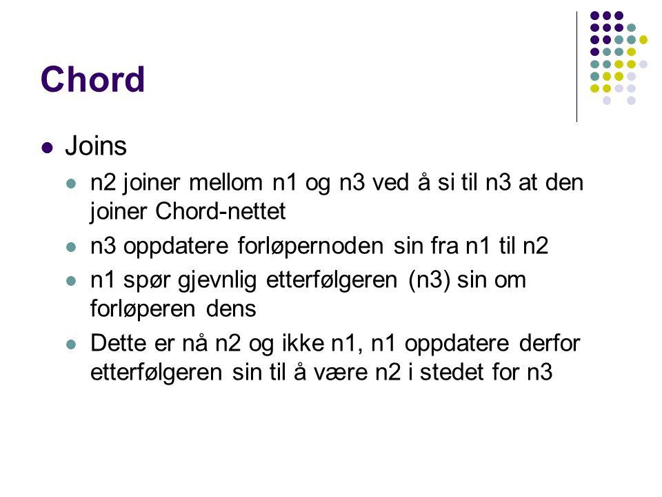 Chord Joins n2 joiner mellom n1 og n3 ved å si til n3 at den joiner Chord-nettet n3 oppdatere forløpernoden sin fra n1 til n2 n1 spør gjevnlig etterfølgeren (n3) sin om forløperen dens Dette er nå n2 og ikke n1, n1 oppdatere derfor etterfølgeren sin til å være n2 i stedet for n3