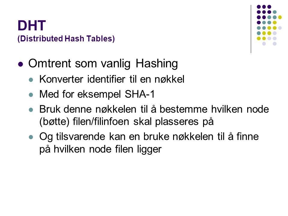 DHT (Distributed Hash Tables) Omtrent som vanlig Hashing Konverter identifier til en nøkkel Med for eksempel SHA-1 Bruk denne nøkkelen til å bestemme hvilken node (bøtte) filen/filinfoen skal plasseres på Og tilsvarende kan en bruke nøkkelen til å finne på hvilken node filen ligger