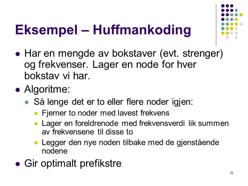 16 Eksempel – Huffmankoding Har en mengde av bokstaver (evt. strenger) og frekvenser. Lager en node for hver bokstav vi har. Algoritme: Så lenge det e