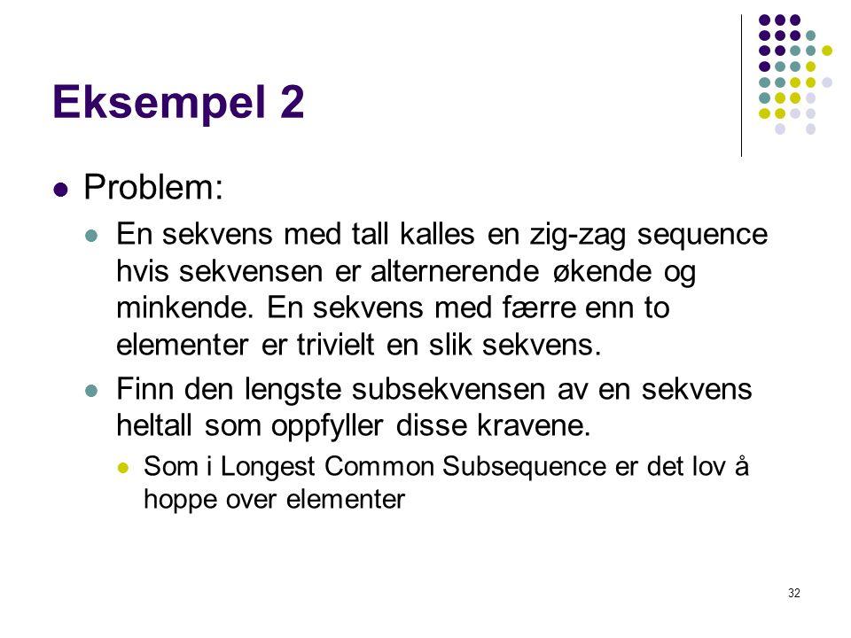 32 Eksempel 2 Problem: En sekvens med tall kalles en zig-zag sequence hvis sekvensen er alternerende økende og minkende. En sekvens med færre enn to e