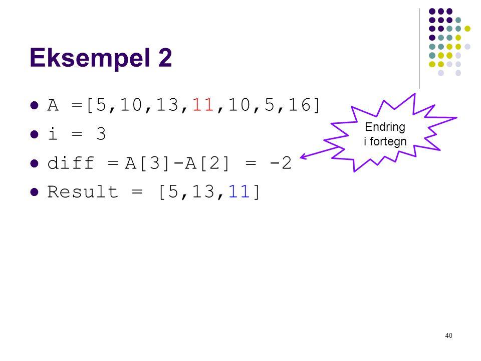 40 Eksempel 2 A =[5,10,13,11,10,5,16] i = 3 diff = A[3]-A[2] = -2 Result = [5,13,11] Endring i fortegn