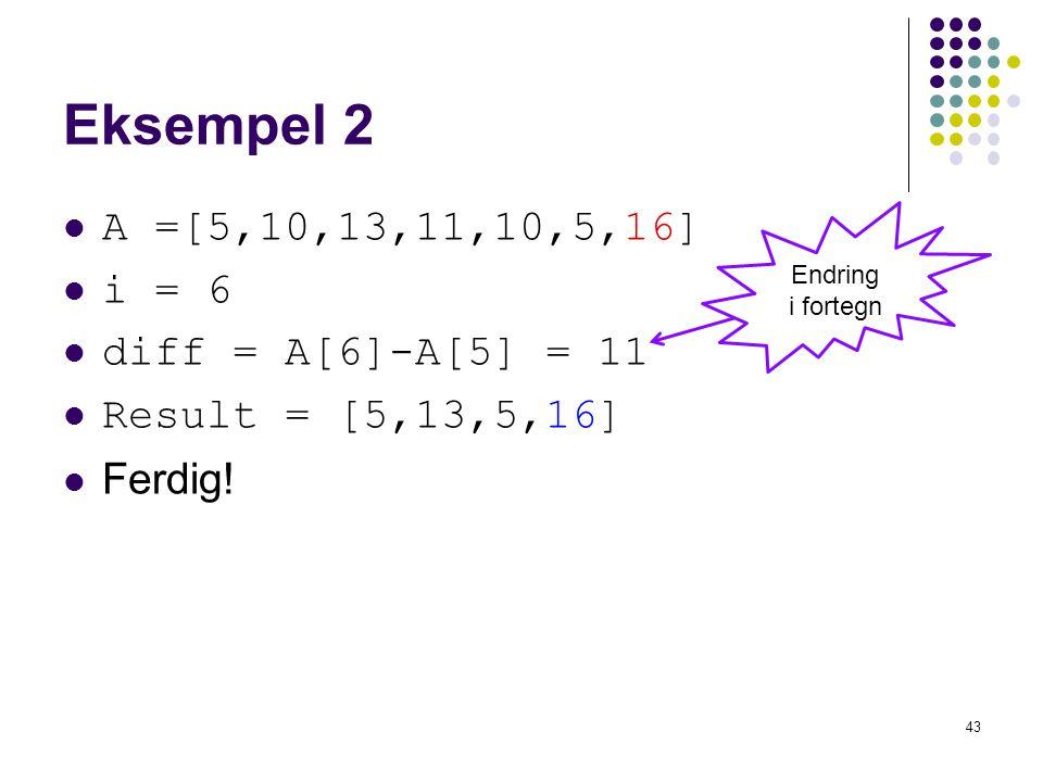 43 Eksempel 2 A =[5,10,13,11,10,5,16] i = 6 diff = A[6]-A[5] = 11 Result = [5,13,5,16] Ferdig! Endring i fortegn