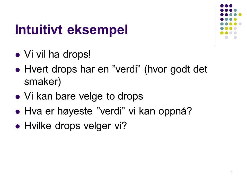 """Intuitivt eksempel Vi vil ha drops! Hvert drops har en """"verdi"""" (hvor godt det smaker) Vi kan bare velge to drops Hva er høyeste """"verdi"""" vi kan oppnå?"""