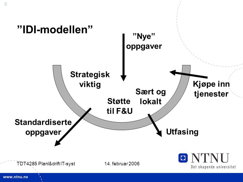 """8 14. februar 2006 TDT4285 Planl&drift IT-syst """"IDI-modellen"""" """"Nye"""" oppgaver Standardiserte oppgaver Kjøpe inn tjenester Strategisk viktig Sært og lok"""