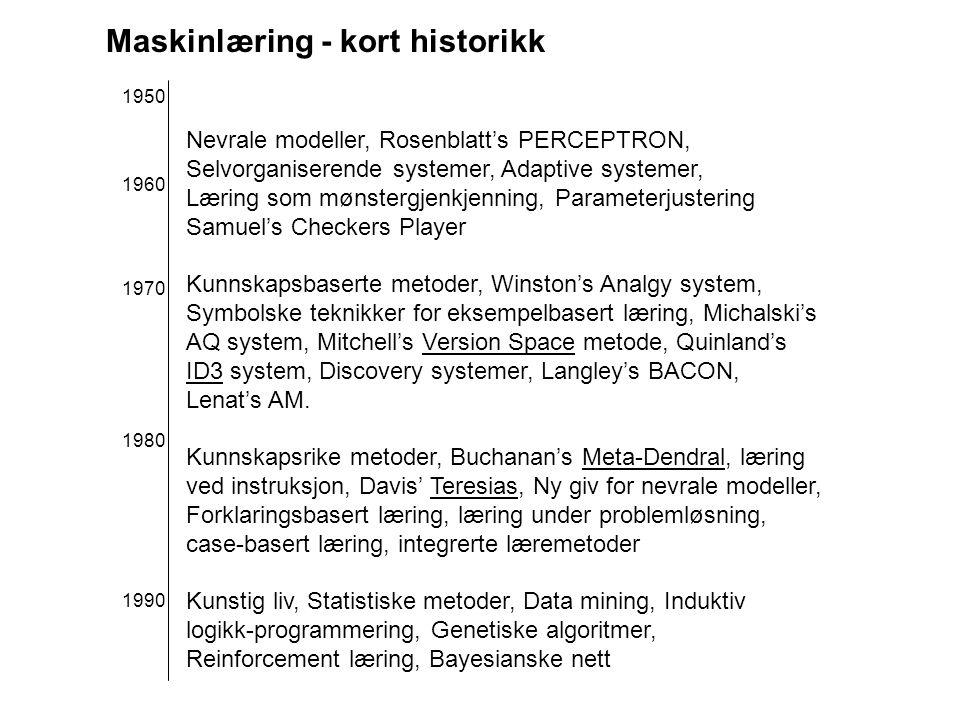 Maskinlæring - kort historikk Nevrale modeller, Rosenblatt's PERCEPTRON, Selvorganiserende systemer, Adaptive systemer, Læring som mønstergjenkjenning, Parameterjustering Samuel's Checkers Player Kunnskapsbaserte metoder, Winston's Analgy system, Symbolske teknikker for eksempelbasert læring, Michalski's AQ system, Mitchell's Version Space metode, Quinland's ID3 system, Discovery systemer, Langley's BACON, Lenat's AM.