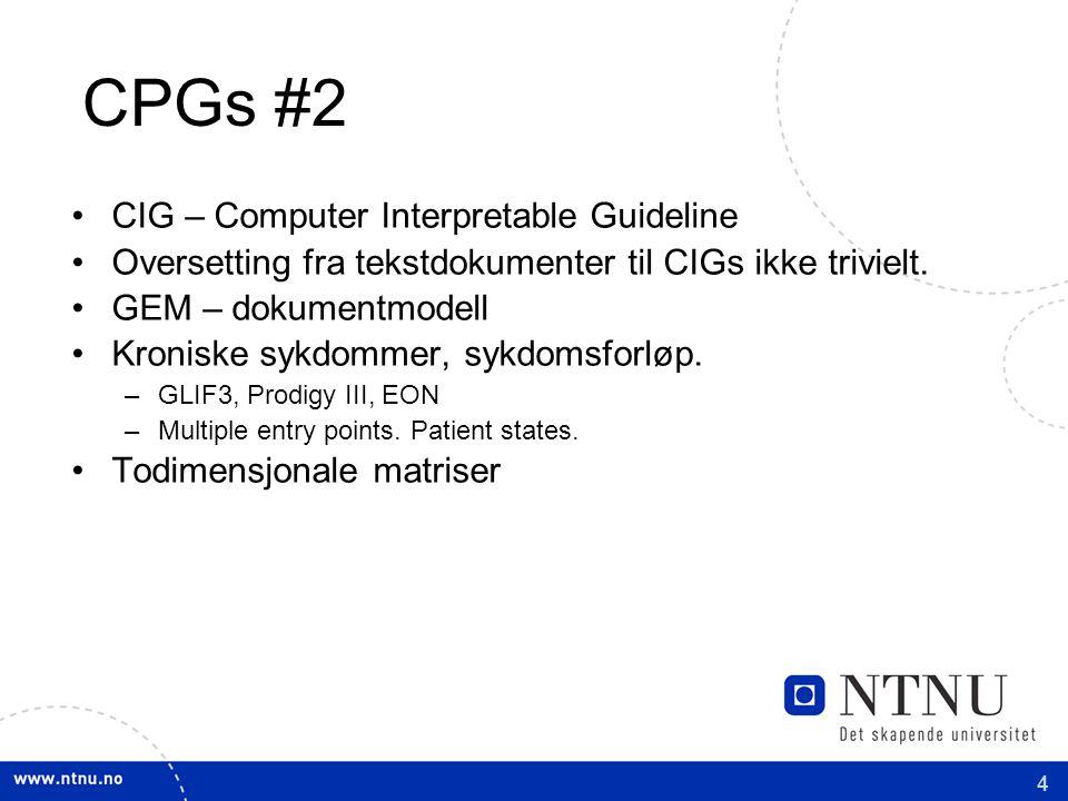 4 CPGs #2 CIG – Computer Interpretable Guideline Oversetting fra tekstdokumenter til CIGs ikke trivielt.