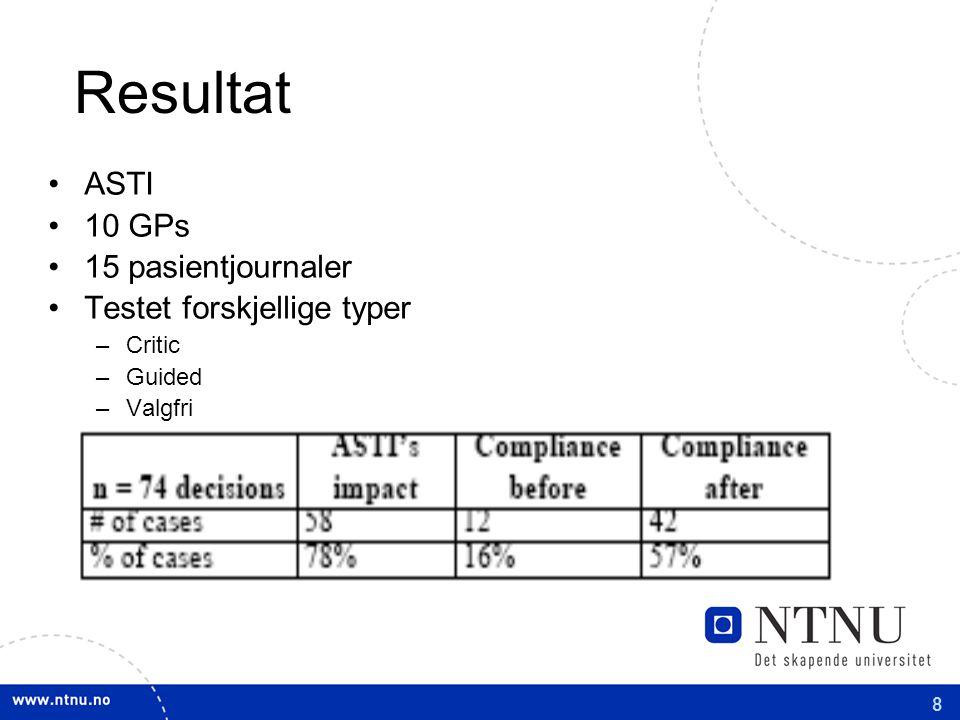 8 Resultat ASTI 10 GPs 15 pasientjournaler Testet forskjellige typer –Critic –Guided –Valgfri