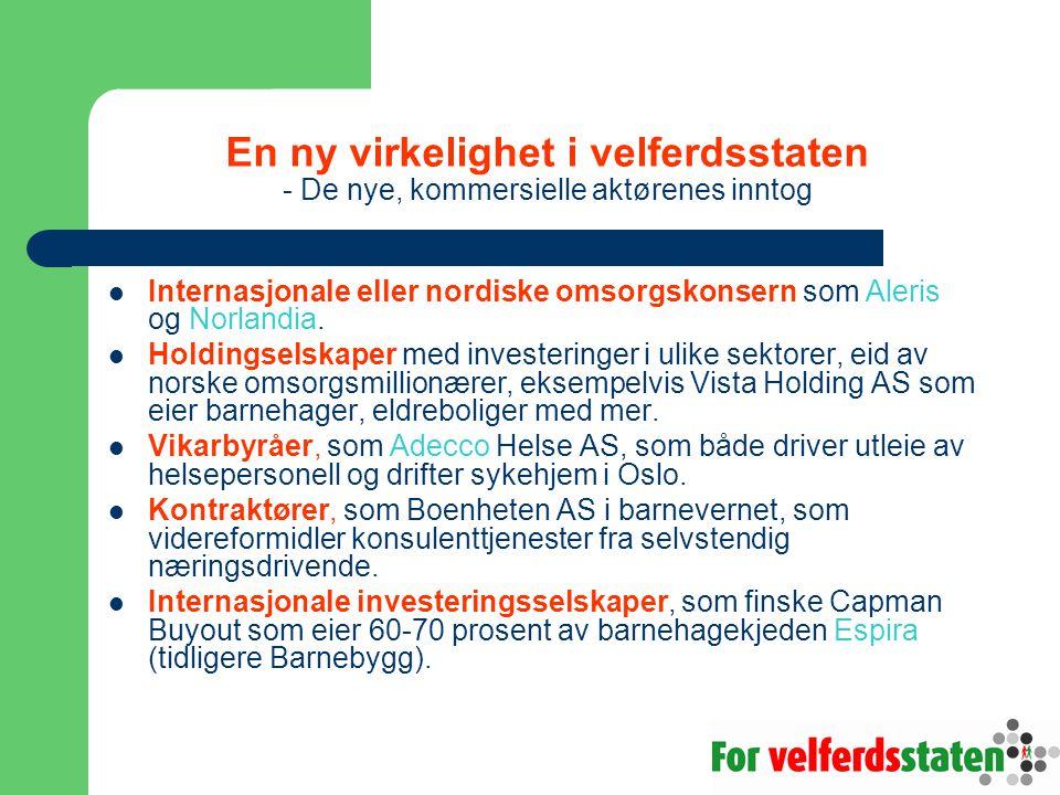 En ny virkelighet i velferdsstaten - De nye, kommersielle aktørenes inntog Internasjonale eller nordiske omsorgskonsern som Aleris og Norlandia. Holdi