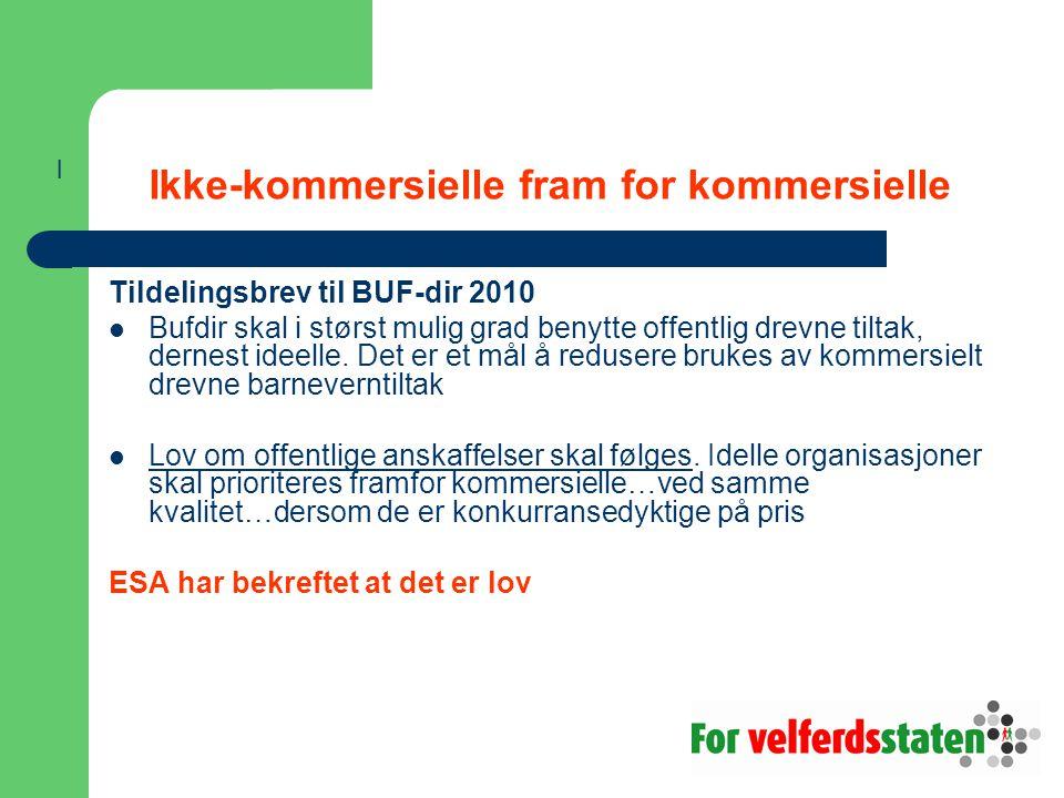 Ikke-kommersielle fram for kommersielle Tildelingsbrev til BUF-dir 2010 Bufdir skal i størst mulig grad benytte offentlig drevne tiltak, dernest ideel