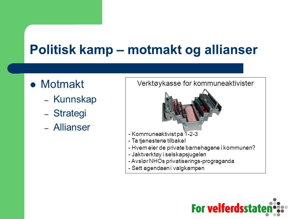Politisk kamp – motmakt og allianser Motmakt – Kunnskap – Strategi – Allianser Verktøykasse for kommuneaktivister - Kommuneaktivist på 1-2-3 - Ta tjenestene tilbake.