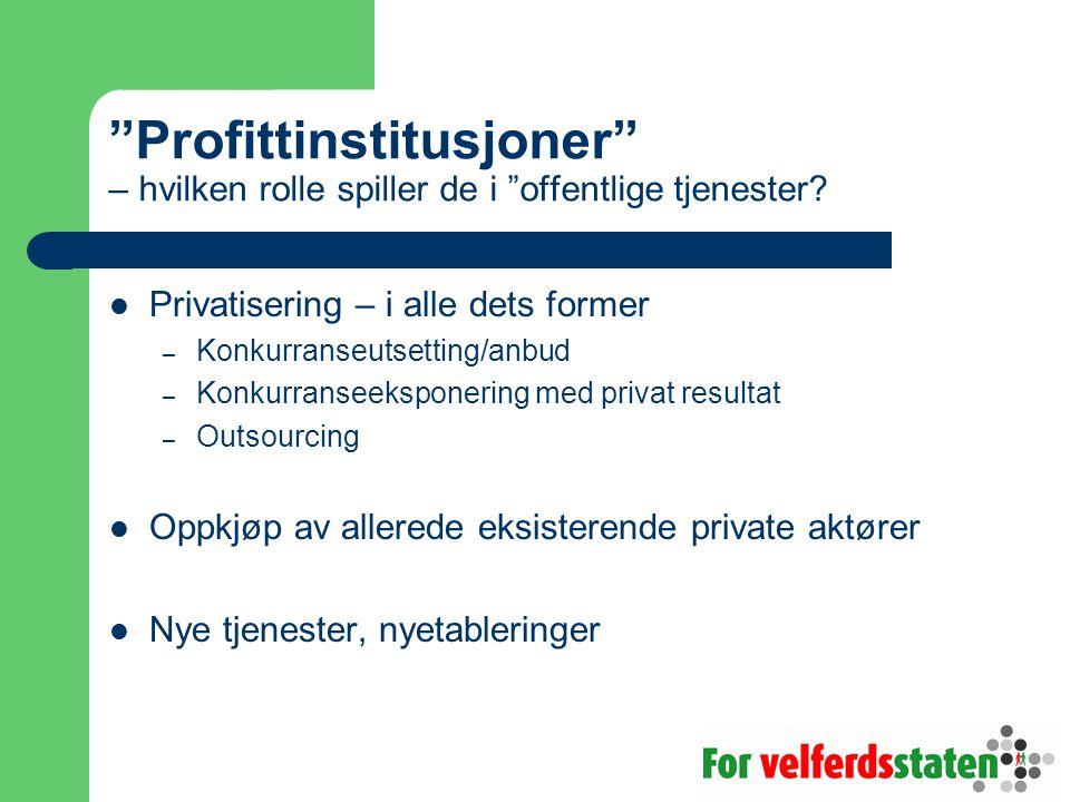"""""""Profittinstitusjoner"""" – hvilken rolle spiller de i """"offentlige tjenester? Privatisering – i alle dets former – Konkurranseutsetting/anbud – Konkurran"""