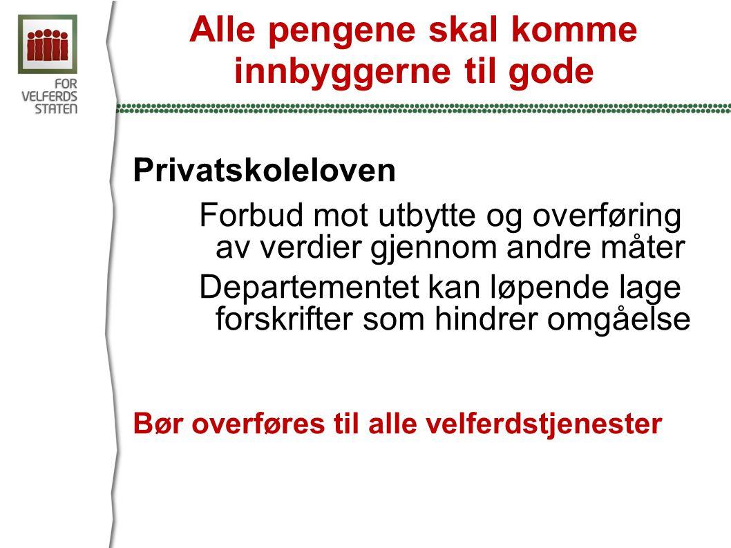 Alle pengene skal komme innbyggerne til gode Privatskoleloven Forbud mot utbytte og overføring av verdier gjennom andre måter Departementet kan løpende lage forskrifter som hindrer omgåelse Bør overføres til alle velferdstjenester