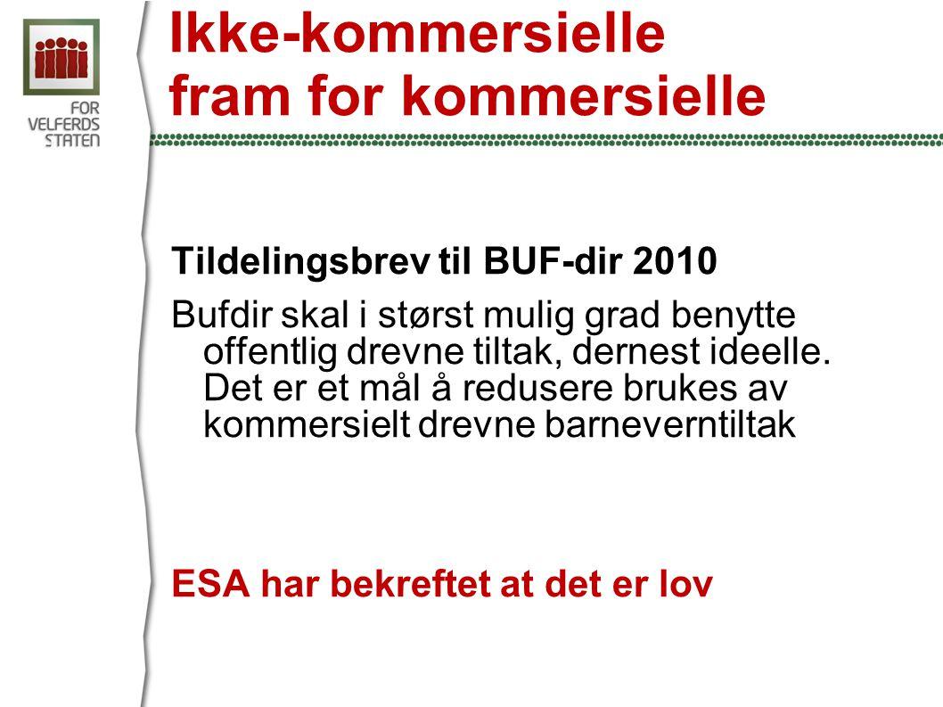 Ikke-kommersielle fram for kommersielle Tildelingsbrev til BUF-dir 2010 Bufdir skal i størst mulig grad benytte offentlig drevne tiltak, dernest ideelle.
