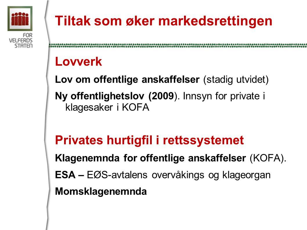 Tiltak som øker markedsrettingen Lovverk Lov om offentlige anskaffelser (stadig utvidet) Ny offentlighetslov (2009).