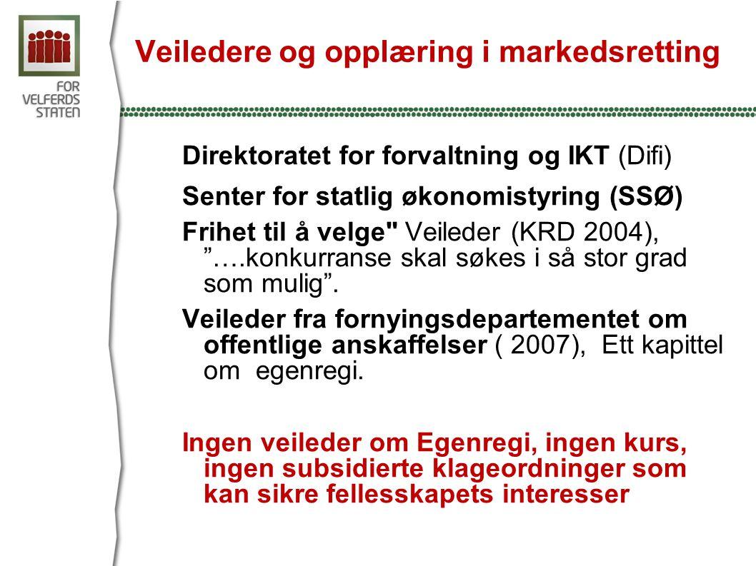 Egenregi: Normaltilstanden for det offentlige Tjenester utført med egne ansatte egenregi : unntatt fra EUs konkurransepolitikk og Lov om offentlige anskaffelser.