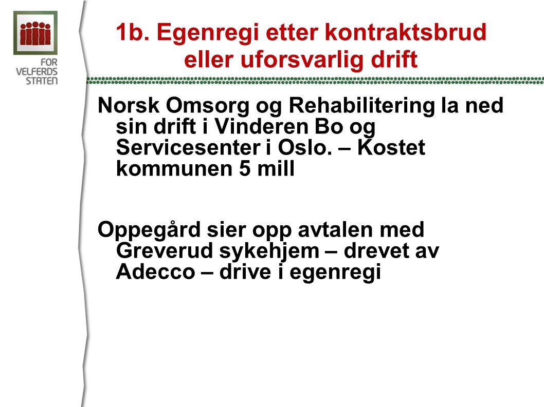 1b. Egenregi etter kontraktsbrud eller uforsvarlig drift Norsk Omsorg og Rehabilitering la ned sin drift i Vinderen Bo og Servicesenter i Oslo. – Kost
