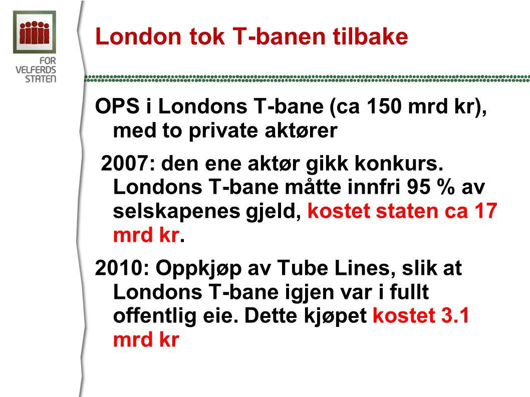 London tok T-banen tilbake OPS i Londons T-bane (ca 150 mrd kr), med to private aktører 2007: den ene aktør gikk konkurs.