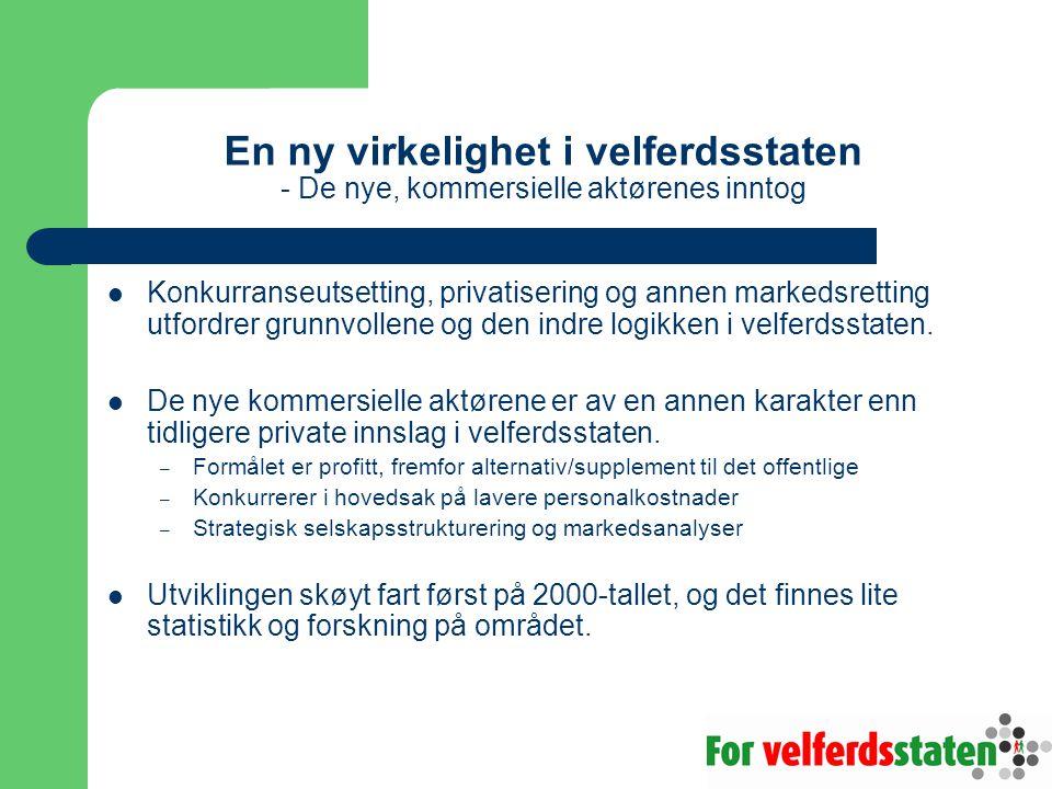 Den nye virkeligheten i velferdsstaten - De nye, kommersielle aktørenes inntog De nye kommersielle aktørene i Norge – noen eksempler – Internasjonale investeringsselskaper, som finske Capman Buyout som eier 60-70 prosent av barnehagekjeden Espira (tidligere Barnebygg).