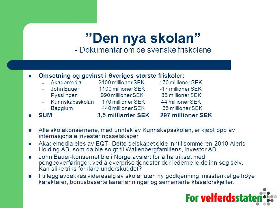 Den nya skolan - Dokumentar om de svenske friskolene Omsetning og gevinst i Sveriges største friskoler: – Akademedia 2100 millioner SEK 170 millioner SEK – John Bauer 1100 millioner SEK -17 millioner SEK – Pysslingen 990 millioner SEK 35 millioner SEK – Kunnskapsskolan 170 millioner SEK 44 millioner SEK – Baggium 440 millioner SEK 65 millioner SEK SUM 3,5 milliarder SEK 297 millioner SEK Alle skolekonsernene, med unntak av Kunnskapsskolan, er kjøpt opp av internasjonale investeringsselskaper Akademedia eies av EQT.