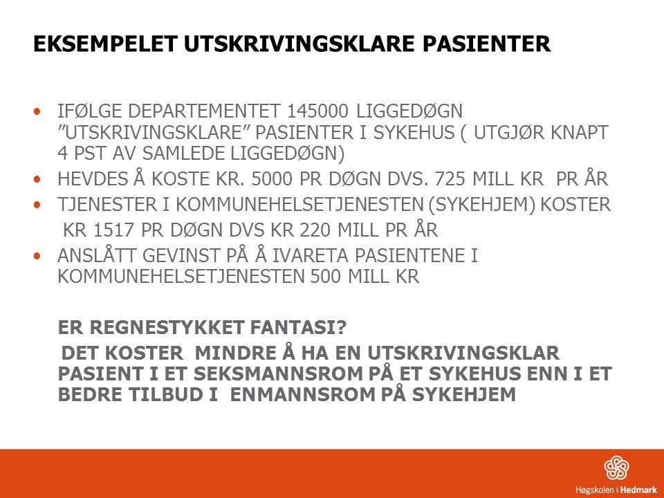 """EKSEMPELET UTSKRIVINGSKLARE PASIENTER IFØLGE DEPARTEMENTET 145000 LIGGEDØGN """"UTSKRIVINGSKLARE"""" PASIENTER I SYKEHUS ( UTGJØR KNAPT 4 PST AV SAMLEDE LIG"""