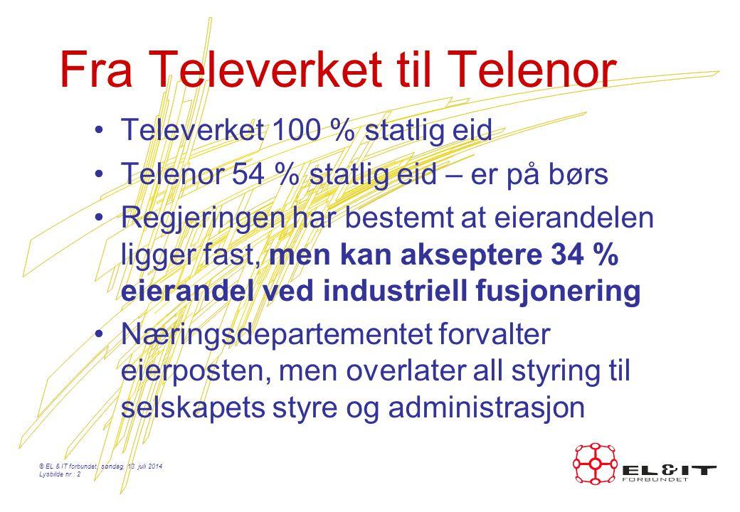 Fra Televerket til Telenor Televerket 100 % statlig eid Telenor 54 % statlig eid – er på børs Regjeringen har bestemt at eierandelen ligger fast, men kan akseptere 34 % eierandel ved industriell fusjonering Næringsdepartementet forvalter eierposten, men overlater all styring til selskapets styre og administrasjon © EL & IT forbundet, søndag, 13.