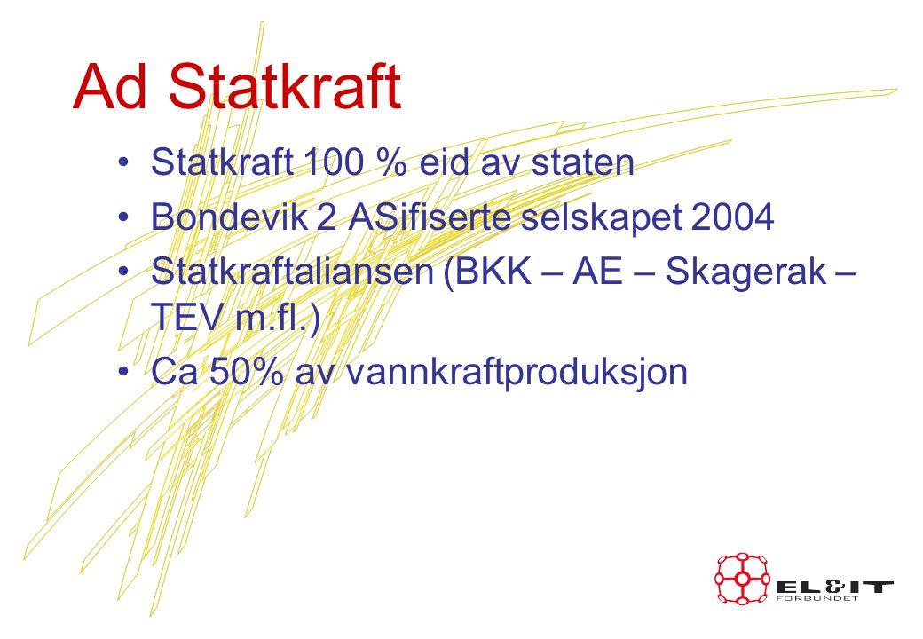 Ad Statkraft Statkraft 100 % eid av staten Bondevik 2 ASifiserte selskapet 2004 Statkraftaliansen (BKK – AE – Skagerak – TEV m.fl.) Ca 50% av vannkraftproduksjon