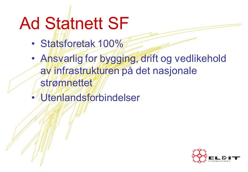 Ad Statnett SF Statsforetak 100% Ansvarlig for bygging, drift og vedlikehold av infrastrukturen på det nasjonale strømnettet Utenlandsforbindelser