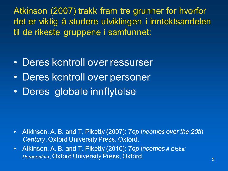 3 Atkinson (2007) trakk fram tre grunner for hvorfor det er viktig å studere utviklingen i inntektsandelen til de rikeste gruppene i samfunnet: Deres kontroll over ressurser Deres kontroll over personer Deres globale innflytelse Atkinson, A.