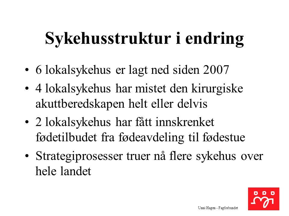 Unni Hagen - Fagforbundet Sykehusstruktur i endring 6 lokalsykehus er lagt ned siden 2007 4 lokalsykehus har mistet den kirurgiske akuttberedskapen he