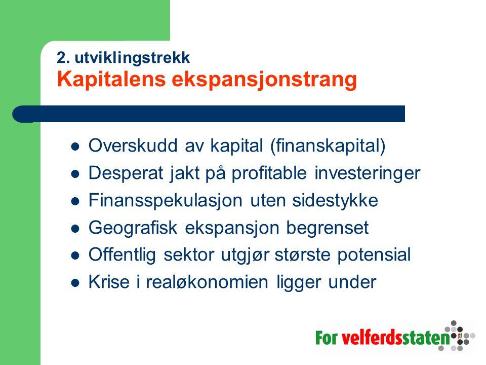 2. utviklingstrekk Kapitalens ekspansjonstrang Overskudd av kapital (finanskapital) Desperat jakt på profitable investeringer Finansspekulasjon uten s