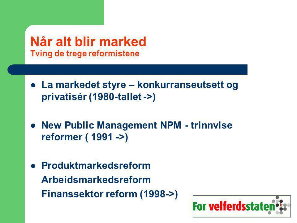 Når alt blir marked Tving de trege reformistene La markedet styre – konkurranseutsett og privatisér (1980-tallet ->) New Public Management NPM - trinnvise reformer ( 1991 ->) Produktmarkedsreform Arbeidsmarkedsreform Finanssektor reform (1998->)