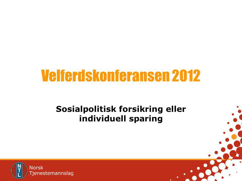 Velferdskonferansen 2012 Sosialpolitisk forsikring eller individuell sparing
