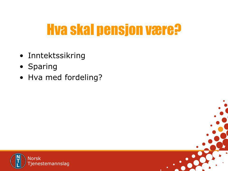 Hva skal pensjon være Inntektssikring Sparing Hva med fordeling